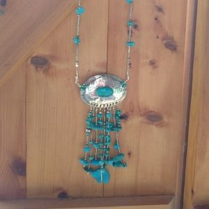 Sterling turquoise long necklace